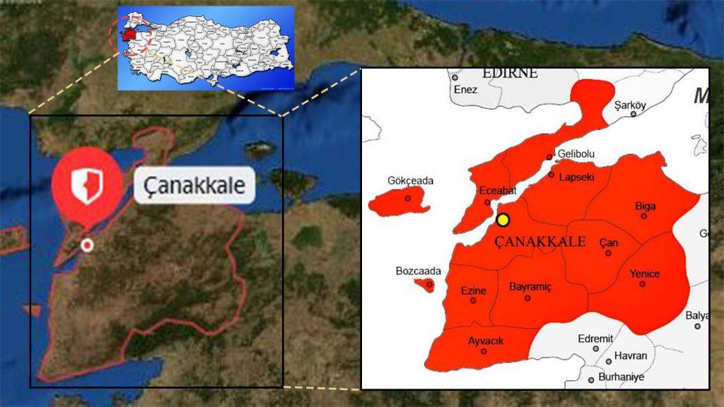 çanakkale ilce haritası