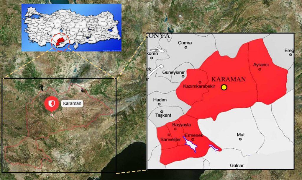 karaman ilçe haritası