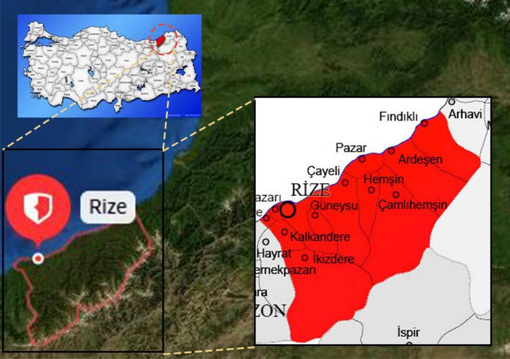 rize ilçe haritası