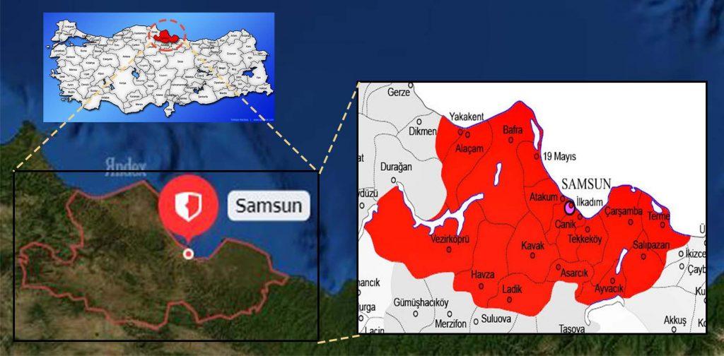 samsun ilçe haritası