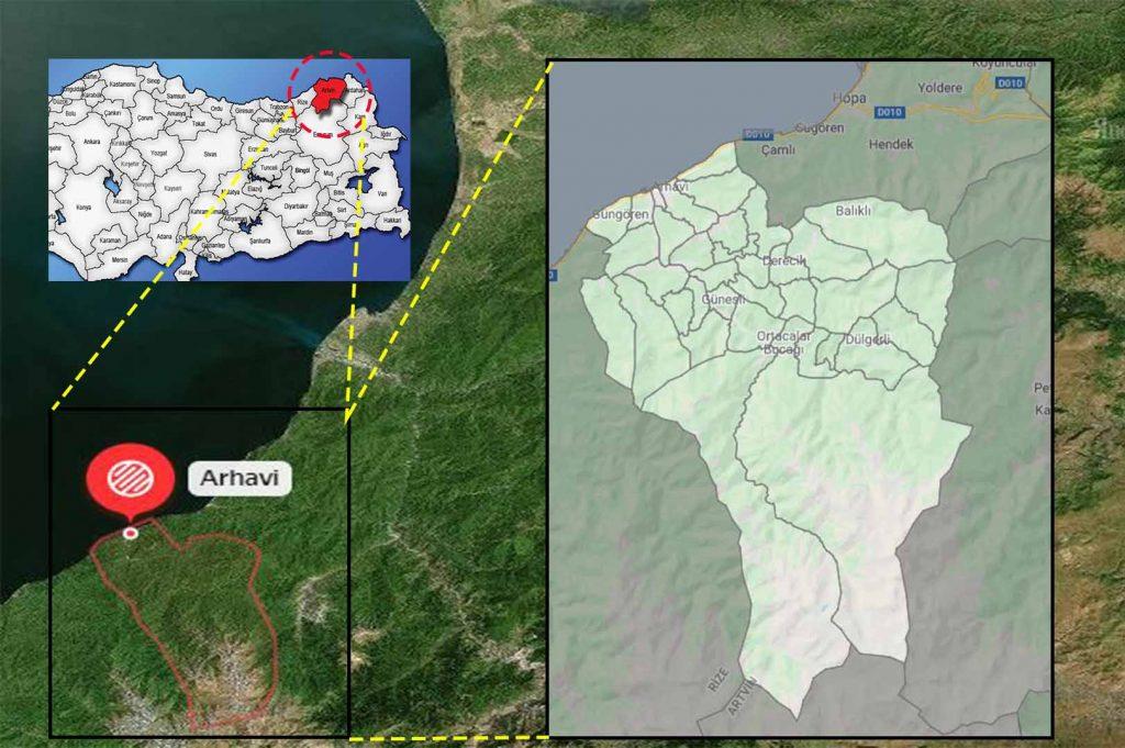 arhavi mahalle haritası