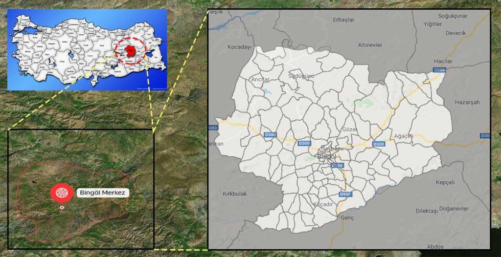 Bingöl Merkez mahalle haritası