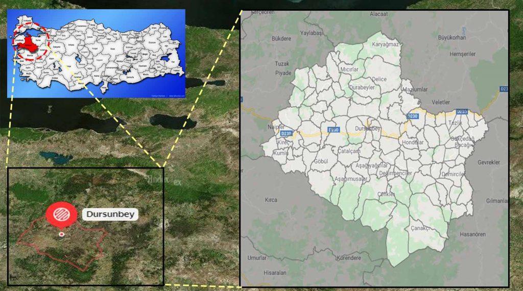 dursunbey mahalle haritası