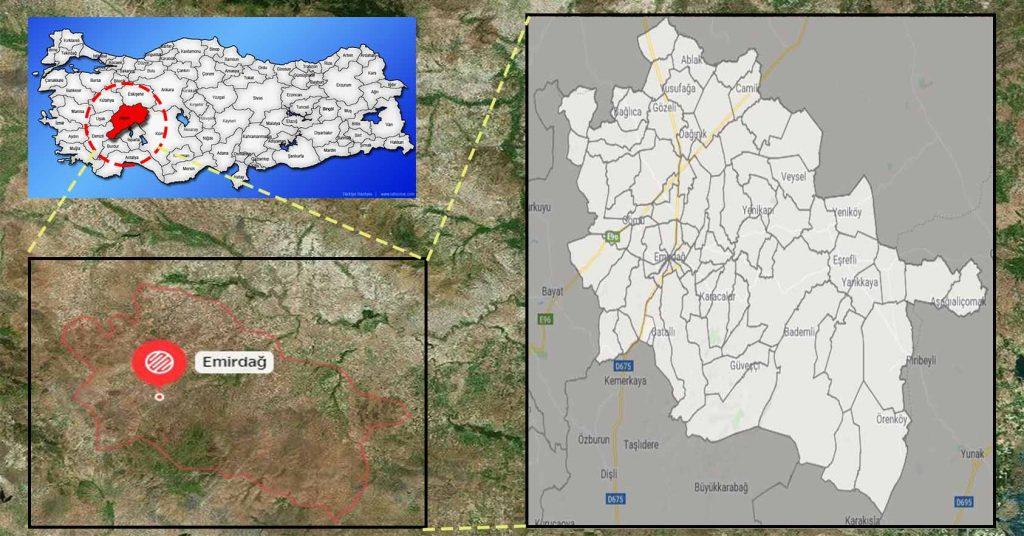emirdağ mahalle haritası
