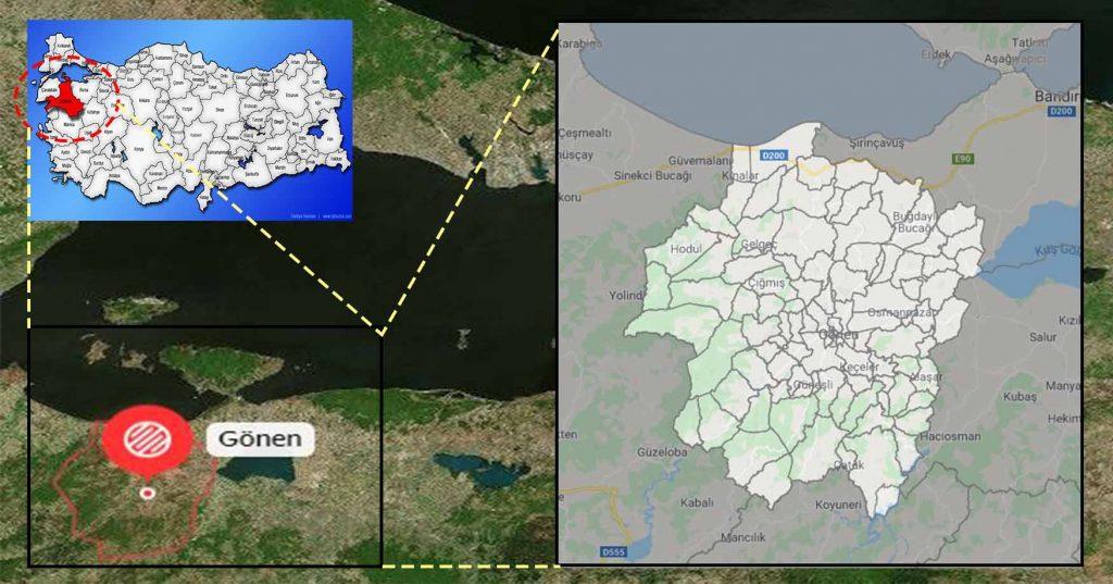gönen mahalle haritası