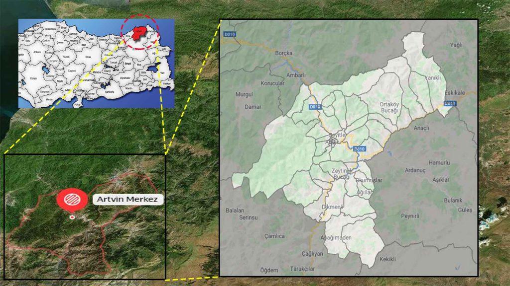 Artvin merkez mahalle haritası