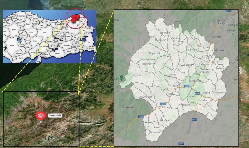 yusufeli mahalle haritası
