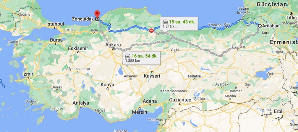Ardahan Zonguldak Arası Kaç KM