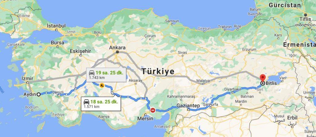Aydın Bitlis Arası Kaç KM