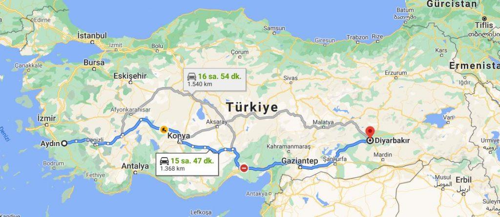 Diyarbakır Aydın Arası Kaç KM