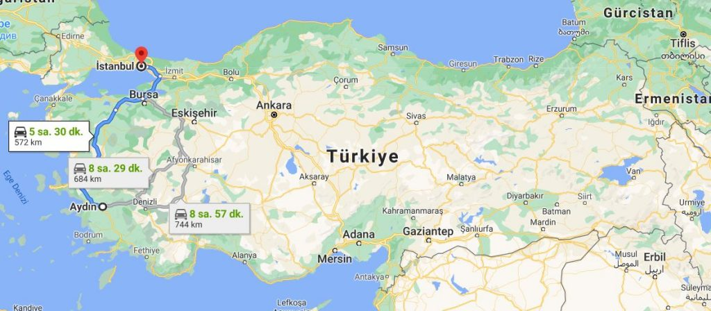 İstanbul Aydın Arası Kaç KM