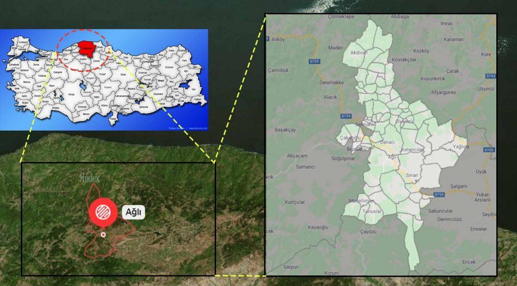 Ağlı mahalle haritası