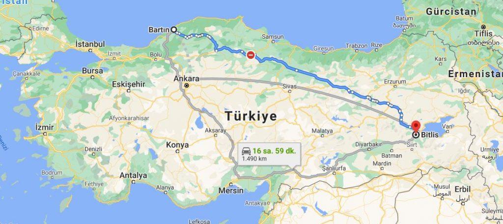 Bartın Bitlis Arası Kaç KM