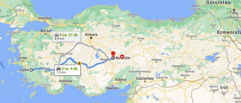 Aydın Nevşehir Arası Kaç KM