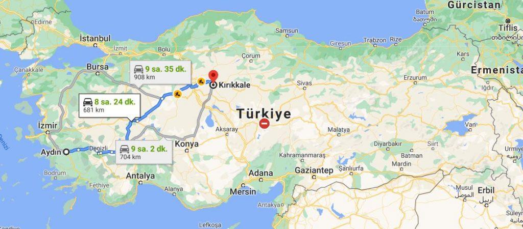 Aydın Kırıkkale Arası Kaç KM