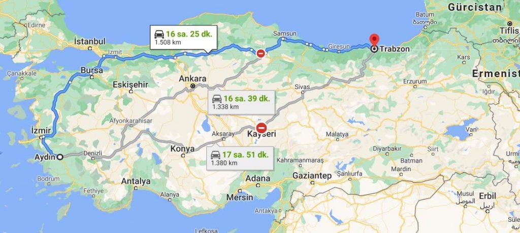 Aydın Trabzon Arası Kaç KM