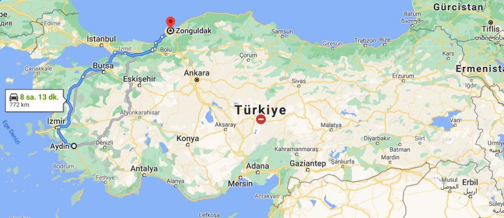 Aydın Zonguldak Arası Kaç KM