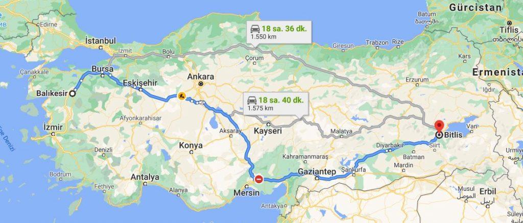 Balıkesir Bitlis Arası Kaç KM