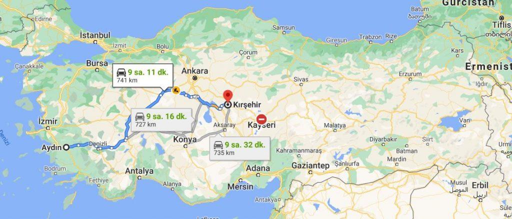 Aydın Kırşehir Arası Kaç KM