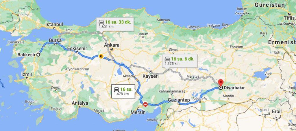 Diyarbakır Balıkesir Arası Kaç KM