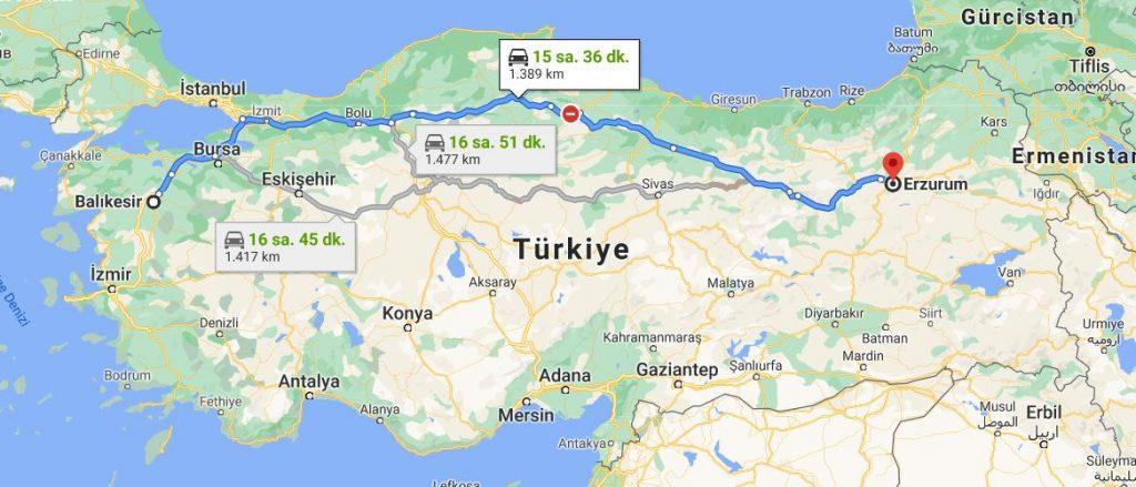 Erzurum Balıkesir Arası Kaç KM
