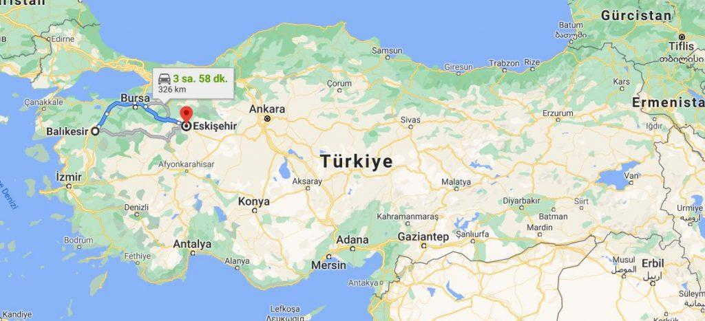 Balıkesir Eskişehir Arası Kaç KM