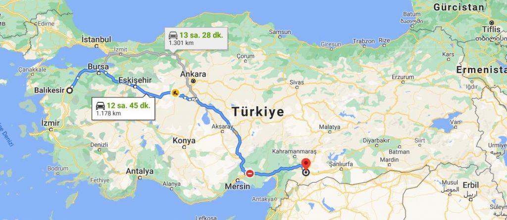 Gaziantep Balıkesir Arası Kaç KM