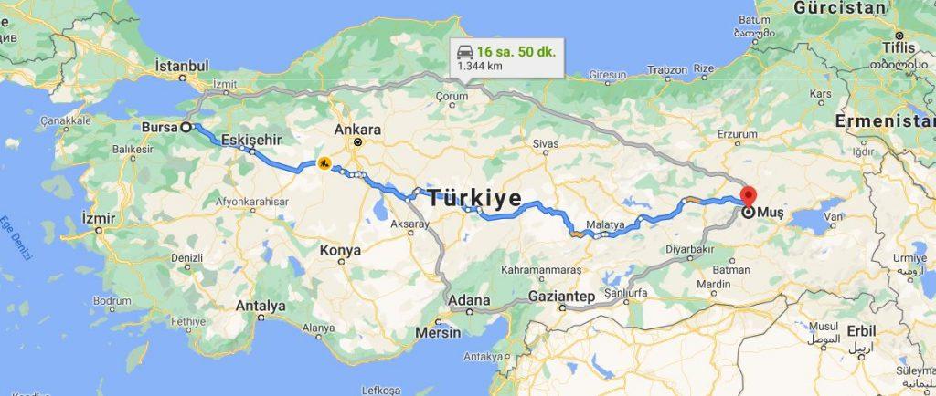 Bursa Muş arası kaç km