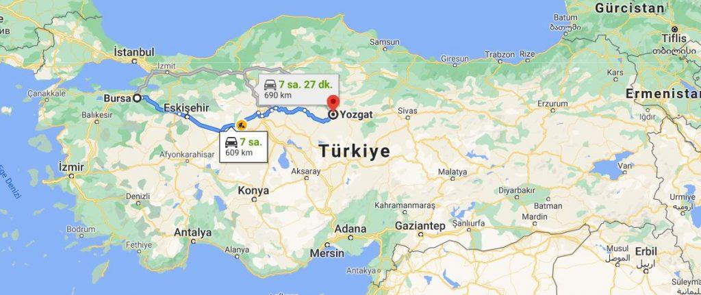 Bursa Yozgat Arası Kaç KM