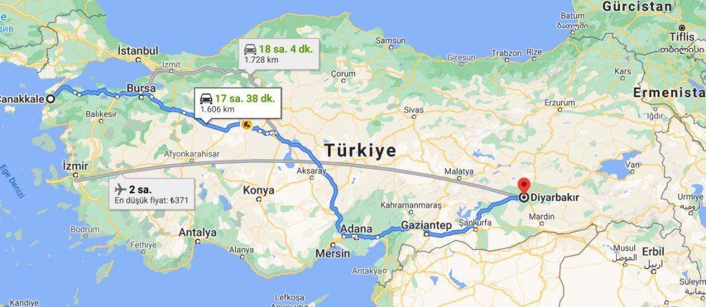 Diyarbakır Çanakkale Arası Kaç KM