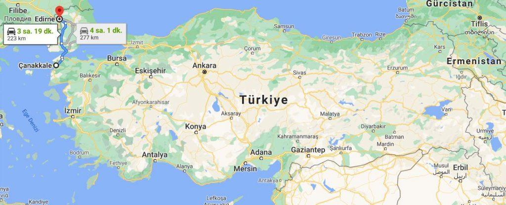 Çanakkale Edirne Arası Kaç KM