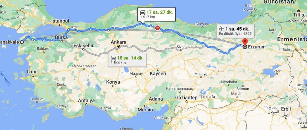 Erzurum Çanakkale Arası Kaç KM