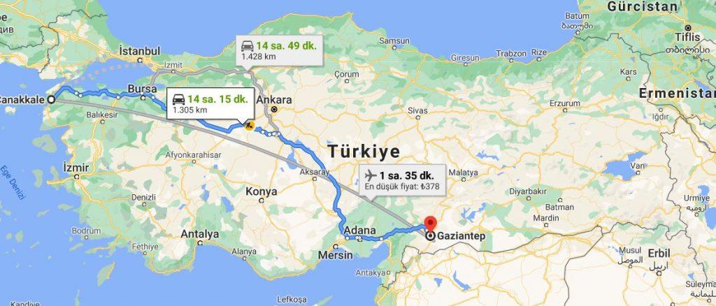 Gaziantep Çanakkale Arası Kaç KM
