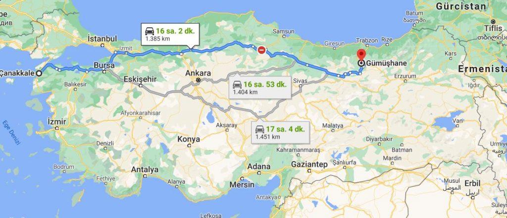 Çanakkale Gümüşhane Arası Kaç KM