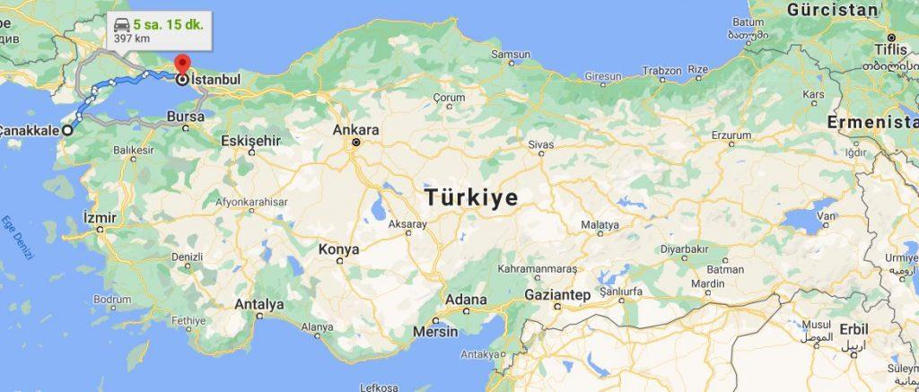 İstanbul Çanakkale Arası Kaç KM