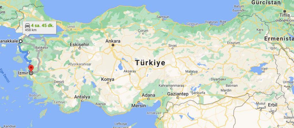 İzmir Çanakkale Arası Kaç KM