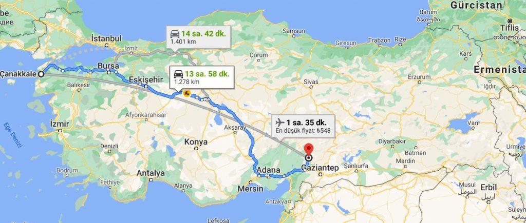 Kahramanmaraş Çanakkale Arası Kaç KM