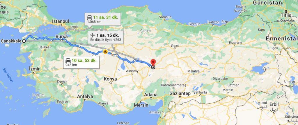 Kayseri Çanakkale Arası Kaç KM