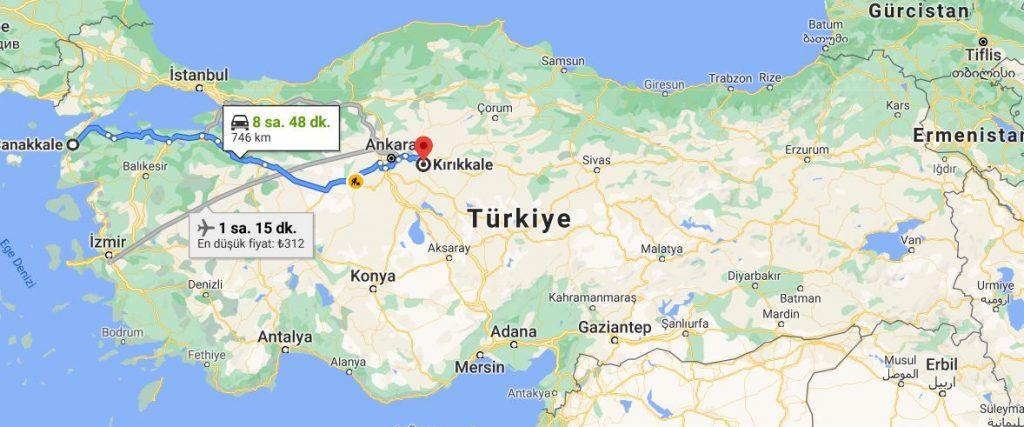 Çanakkale Kırıkkale Arası Kaç KM