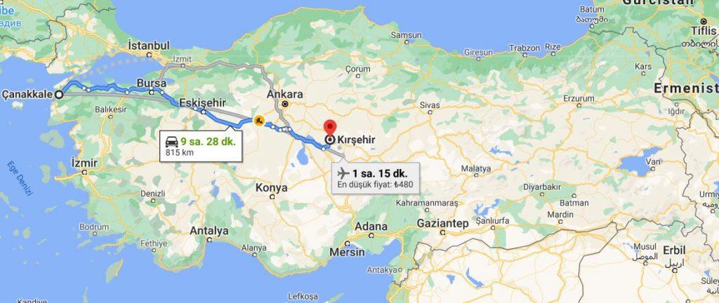 Çanakkale Kırşehir Arası Kaç KM