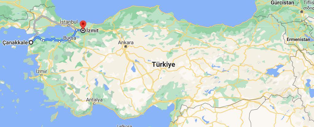 Kocaeli Çanakkale Arası Kaç KM