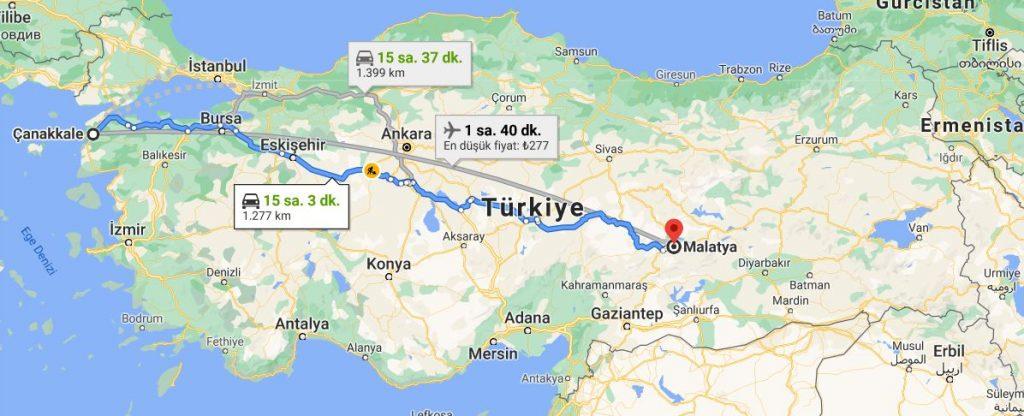 Malatya Çanakkale Arası Kaç KM