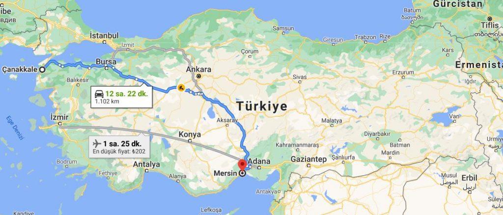 Mersin Çanakkale Arası Kaç KM