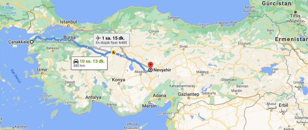 Çanakkale Nevşehir Arası Kaç KM