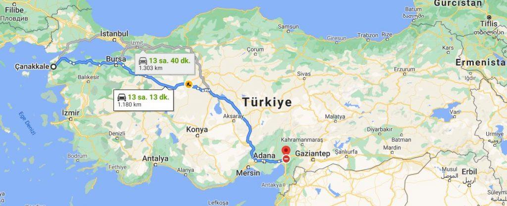 Çanakkale Osmaniye Arası Kaç KM