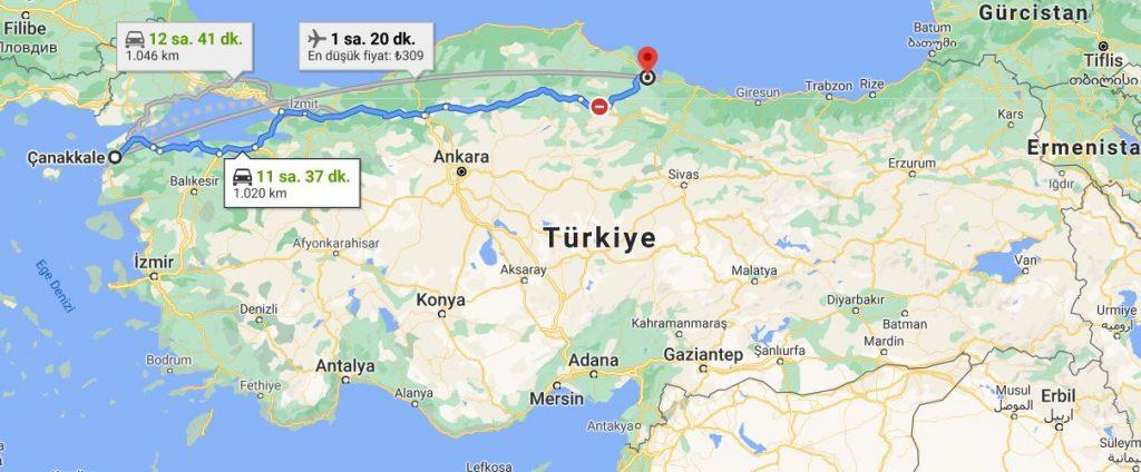 Samsun Çanakkale Arası Kaç KM