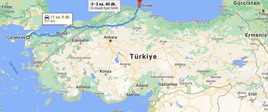Çanakkale Sinop Arası Kaç KM