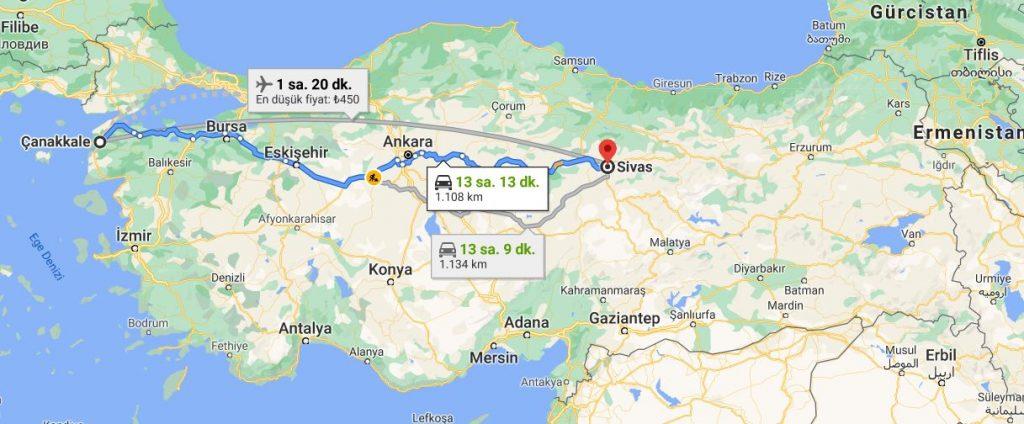 Çanakkale Sivas Arası Kaç KM