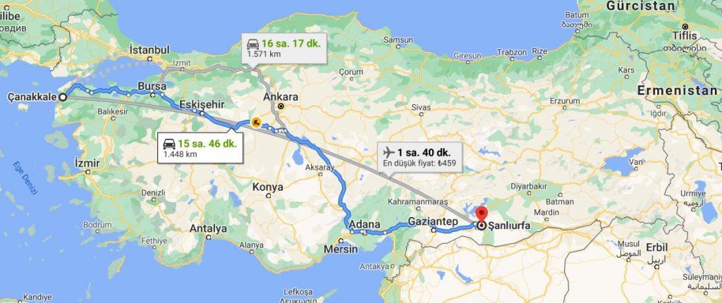 Şanlıurfa Çanakkale Arası Kaç KM