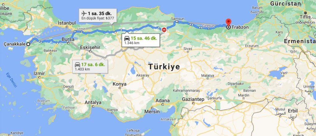 Trabzon Çanakkale Arası Kaç KM